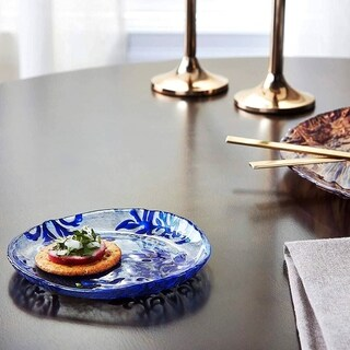 Damask Blue Velvet Canape Plate