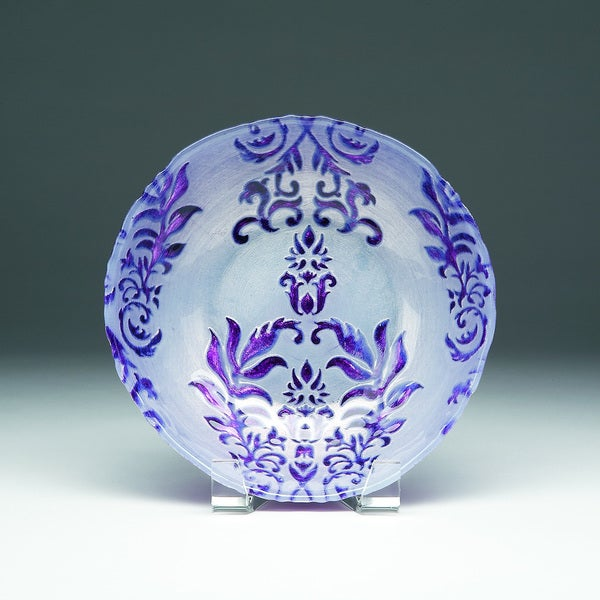 Damask Two Purple Bowl