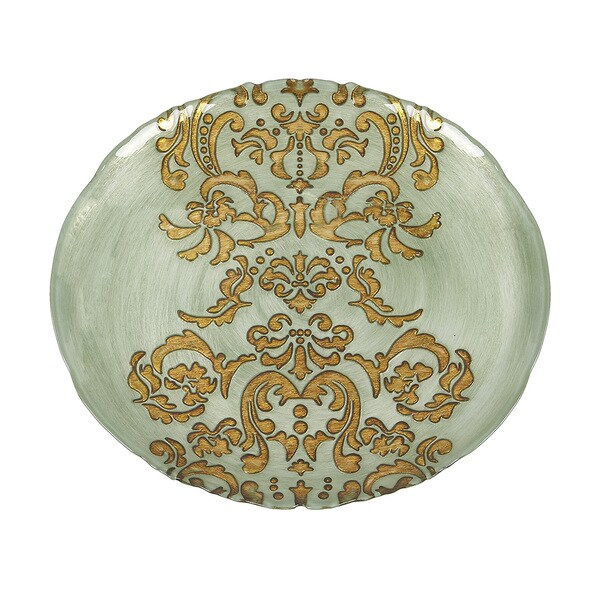 Damask Turquoise Gold Charger Plate 17843052