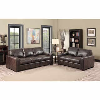 Maxweld Premium Distressed Brown Top Grain Leather Sofa and Loveseat
