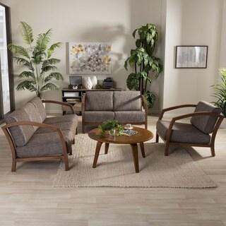 Baxton Studio Velda Modern and Contemporary Walnut Wood Gravel Fabric 3-piece Livingroom Sofa, Loveseat, and Lounge Chair Set