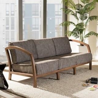 Baxton Studio Velda Modern and Contemporary Walnut Wood Gravel Fabric 3-seater Sofa