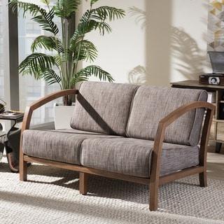 Baxton Studio Velda Modern and Contemporary Walnut Wood Gravel Fabric 2-seater Loveseat
