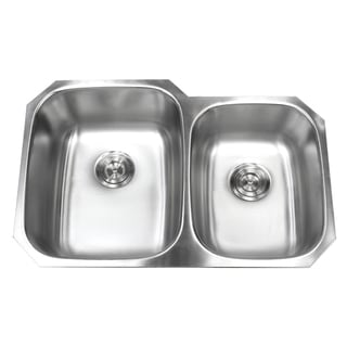 32-inch Double 60/40 Bowl 18 Gauge Undermount Stainless Steel Kitchen Sink with Large Left Bowl and Basket Strainer