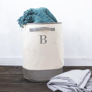 Personalized Round Grey Canvas Storage Hamper