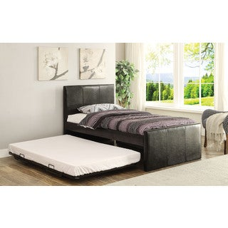 Jandale Black PU Twin Bed and Trundle