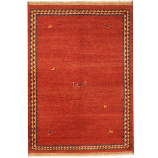 Herat Oriental Indo Hand-knotted Gabbeh Rust/ Navy Wool Rug (4'7 x 6'4)