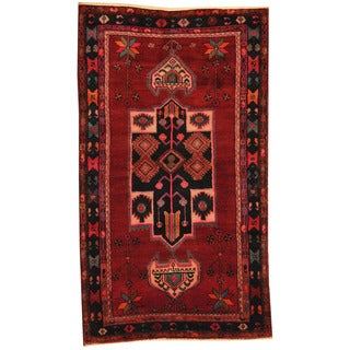 Herat Oriental Persian Hand-knotted 1960s Semi-antique Hamadan Red/ Navy Wool Rug (4'7 x 7'7)
