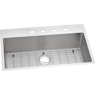 Elkay Crosstown Universal Mount Steel ECTSRS33229BGFR2 Satin Kitchen Sink