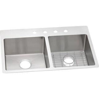 Elkay Crosstown Universal Mount Steel ECTSR33229BGFR2 Satin Kitchen Sink