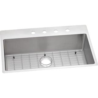 Elkay Crosstown Universal Mount Steel ECTSRS33229BG5 Satin Kitchen Sink