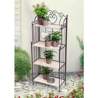 Sunjoy Wrought Iron and Wood Bakers Rack