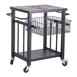Sunjoy Hansel Serving Cart Steel with Included Bamboo Cutting Board