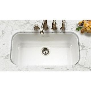 Houzer Porcela Undermount Porcelain Enamel Steel PCG-3600WH White Kitchen Sink