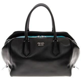 Prada Medium Double Leather Handle Soft Calf Inside Bag