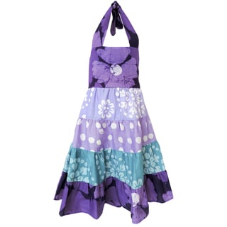 Global Mamas Hand Batiked Girls Gypsy Dress - Violet Patchwork (Ghana)