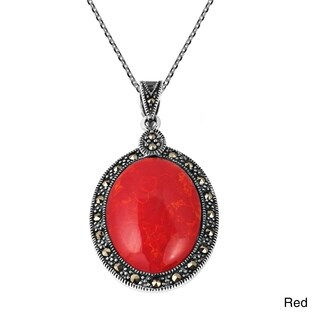 Vintage Inspired Oval Stone Marcasite .925 Silver Necklace (Thailand)