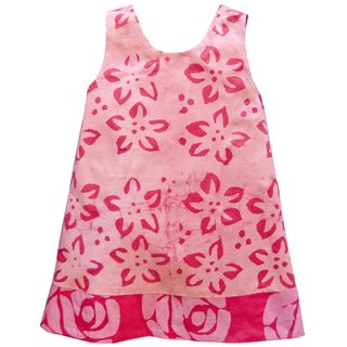 Global Mamas Hand Batiked Girls Reversible Dress - Pink Starflower (Ghana)