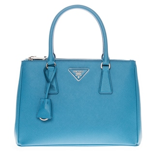 Prada Blue Saffiano Lux Small Double-Zip Tote Bag