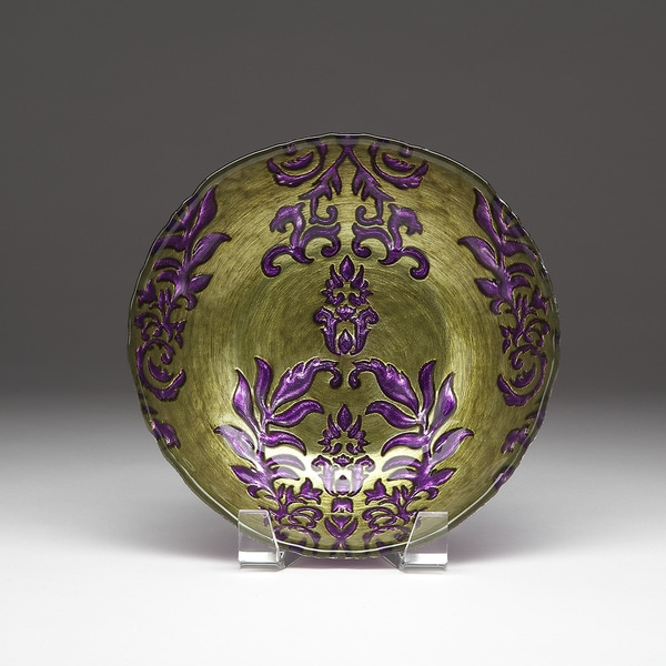Damask Green/ Purple Bowl 17844433