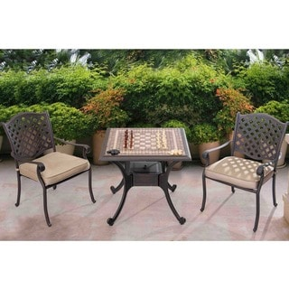Sunjoy Gaming Set with Cast Aluminum Brown and Gold Table, Checker and Chess