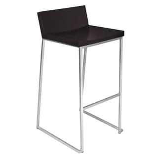 Zenn Modern Stainless Steel and Wood Barstool