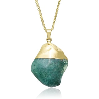 30ct Natural Emerald Quartz Necklace In Gold Overlay, 30 Inches