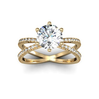 Modern X Band 1.25 Carat Solitaire Engagement Ring With 48 Side Diamonds in 14K Yellow Gold (H-I, I1-I2)