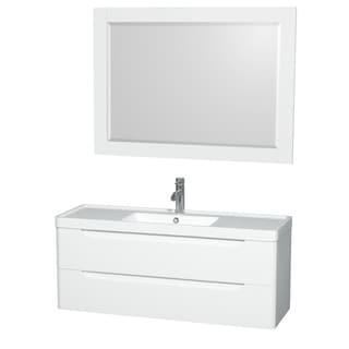 Wyndham Murano Collection 48-inch Acrylic-Resin Integrated Sink Countertop Single Vanity with 46-inch Mirror