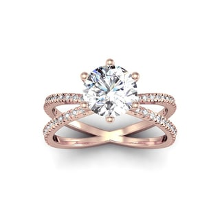 Modern X Band 2 1/4ct TDW Solitaire Engagement Ring with 48 Side Diamonds in 14k Rose Gold (H-I, I1-I2)