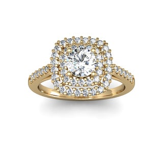 Double Halo 1ct TDW Engagement Important Looking Ring In 14k Yellow Gold (H-I, I1-I2)