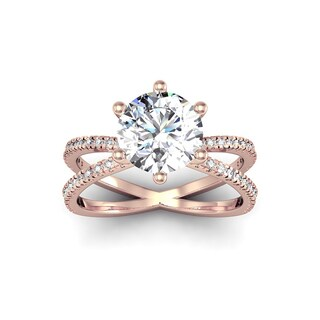 Modern X Band 2.25 Carat Solitaire Engagement Ring With 48 Side Diamonds in 14K Rose Gold (H-I, I1-I2)