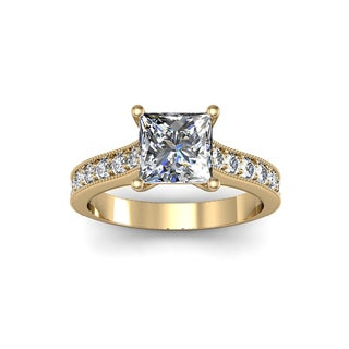 2ct TDW Solitaire Engagement Ring with 1 1/2ct Princess Cut Center Diamond In 14k Yellow Gold (H-I, I1-I2)