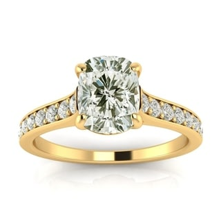 2ct TDW Solitaire Engagement Ring with 1 1/2ct Cushion Cut Center Diamond In 14k Yellow Gold (H-I, I1-I2)