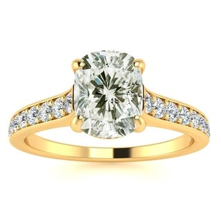 1 1/2ct TDW Solitaire Engagement Ring with 1ct Cushion Cut Center Diamond In 14k Yellow Gold (H-I, I1-I2)