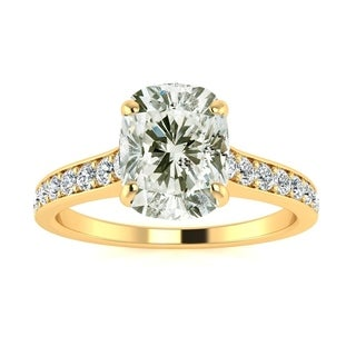 2 1/2ct TDW Solitaire Engagement Ring with 2ct Cushion Cut Center Diamond In 14k Yellow Gold (H-I, I1-I2)