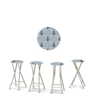 Best of Times Set of 4 Padded Bar Stools; Anchors Away