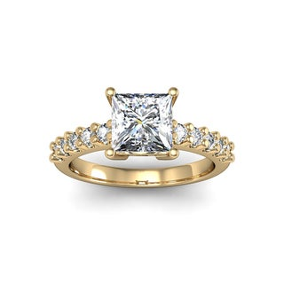 1 1/3ct TDW Traditional Diamond Engagement Ring with 1ct Center Princess Cut Solitaire In 14k Yellow Gold (H-I, I1-I2)