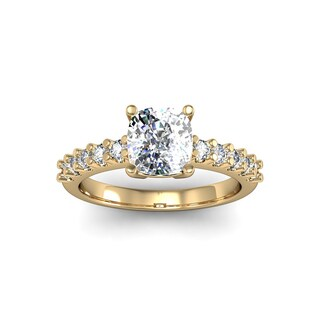 1 1/3ct TDW Traditional Diamond Engagement Ring with 1ct Center Cushion Cut Solitaire In 14k Yellow Gold (H-I, I1-I2)
