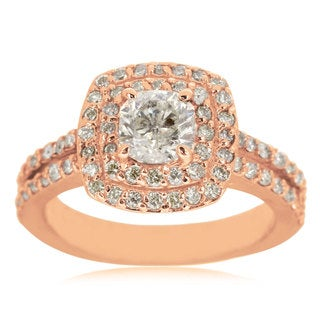2 1/2ct TDW Halo Engagement Ring with 1 1/2ct Cushion Cut Center Diamond In 14k Rose Gold (H-I, I1-I2)