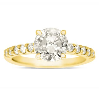 1 8/10ct TDW Traditional Diamond Engagement Ring with 1 1/2ct Center Round Solitaire In 14k Yellow Gold (H-I, I1-I2)