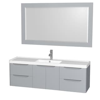 Wyndham Collection Murano 60-inch Acrylic-Resin Countertop Single Vanity Sink includes 58-inch Mirror