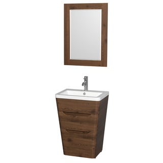 Wyndham Caprice Collection 24-inch Acrylic-Resin Countertop Integrated Sink Pedestal Vanity with 24-inch Mirror