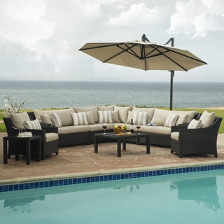 Deco Slate Grey Outdoor Sectional and Club Set with Umbrella (9 piece set)