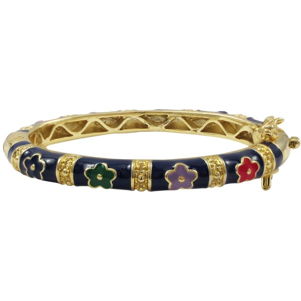 Luxiro Gold Finish Navy Blue and Multi-color Enamel Flower Children's Bangle Bracelet