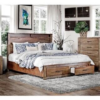 Furniture of America Casso Rustic Oak Storage Platform Bed