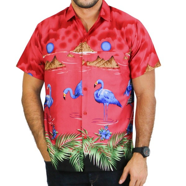 La Leela Smooth Likre Flora Geo Guitar Hawaiian Swirl Hula Explore Camp Shirt Men Royal Red