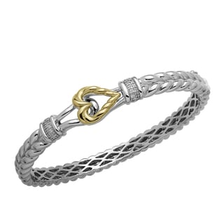 1/8ct TDW Diamond Sterling Silver and 14K Gold Braided Bangle with Heart Clasp
