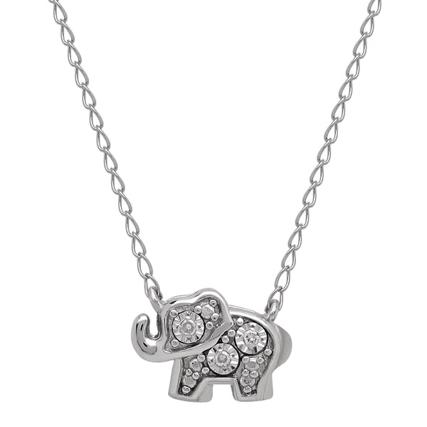 Teeny-Tiny Sterling Silver Diamond Elephant Pendant