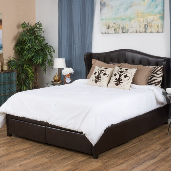 Christopher Knight Home Alford Wingback Upholstered Bonded Leather King Bed Set with Drawers